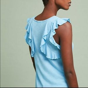 Anthro t.la blue top tee with back ruffles casual
